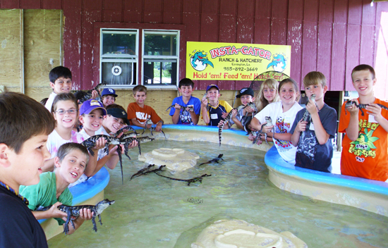 Kids playing with gators
