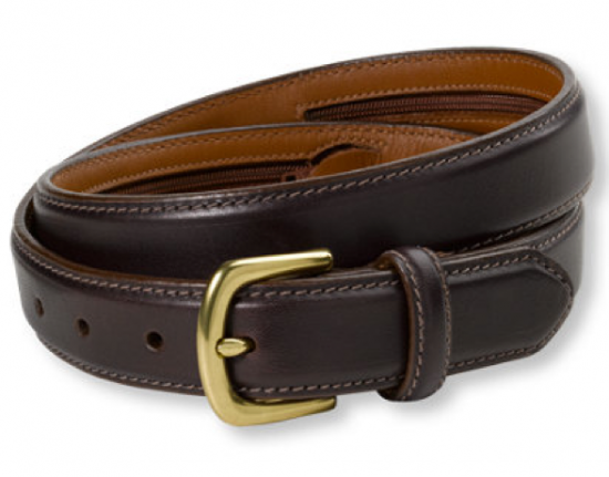 Leather belt with zip