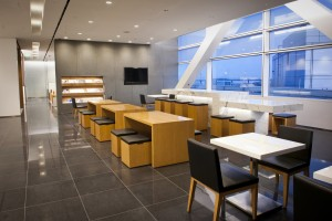 Cathay Pacific's lounge in San Francisco, to which heavy social media users can gain free access.