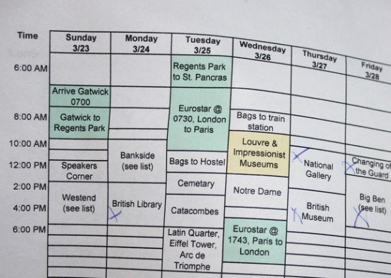 an itinerary showing travel bookings