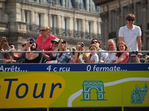 tourists on city tour bus